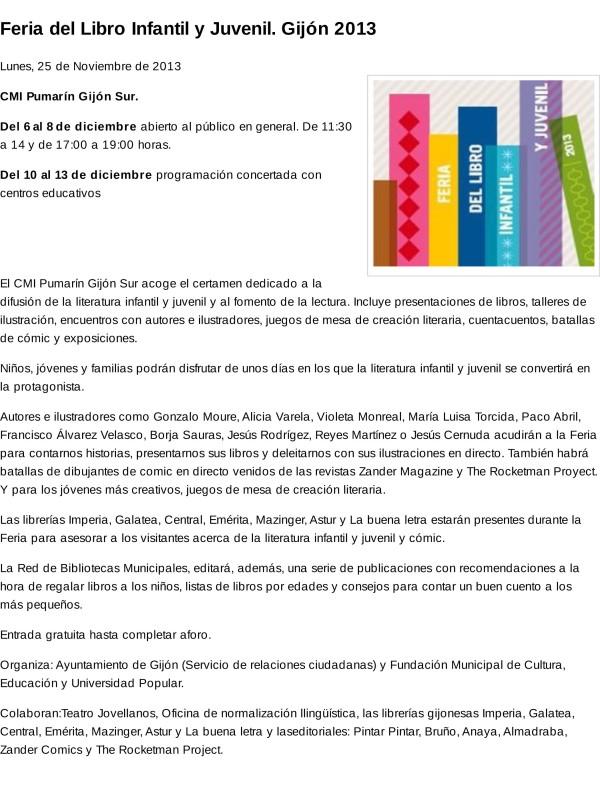 Feria del Libro Infantil y Juvenil. Gijón 2013
